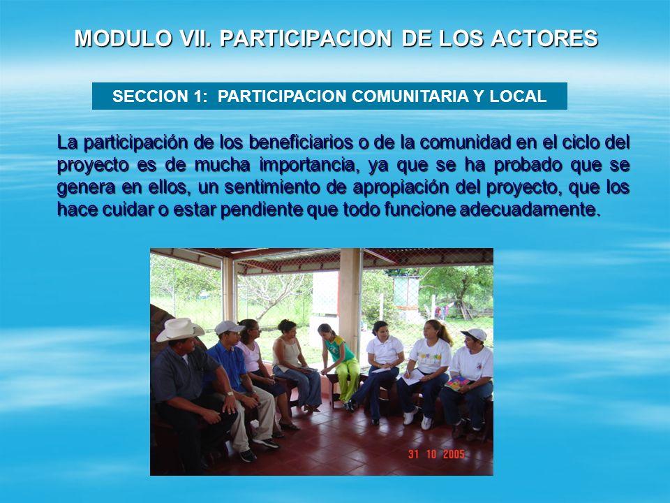 MODULO V. INFORMACION DEL PROYECTO MODULO VI. COINVERSION MUNICIPAL Y COMUNITARIA.