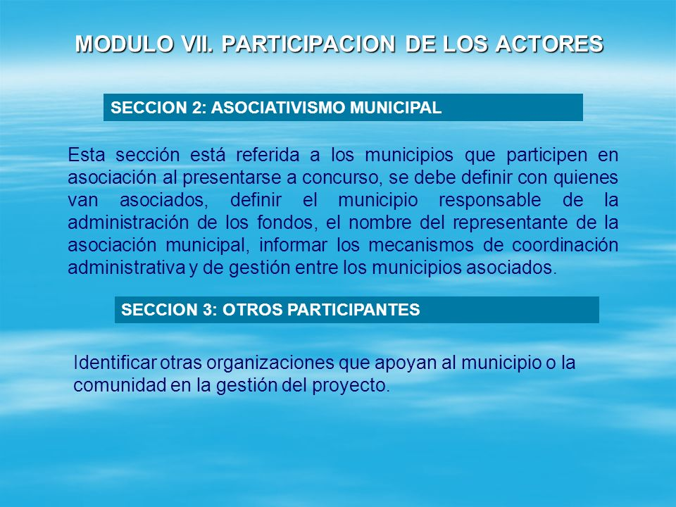 SECCION 1: PARTICIPACION COMUNITARIA Y LOCAL MODULO VII.