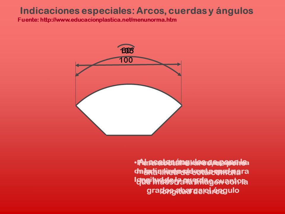 Indicaciones especiales: Arcos, cuerdas y ángulos Fuente: http://www.educacionplastica.net/menunorma.htm Para acotar las cuerdas, encima de la linea d