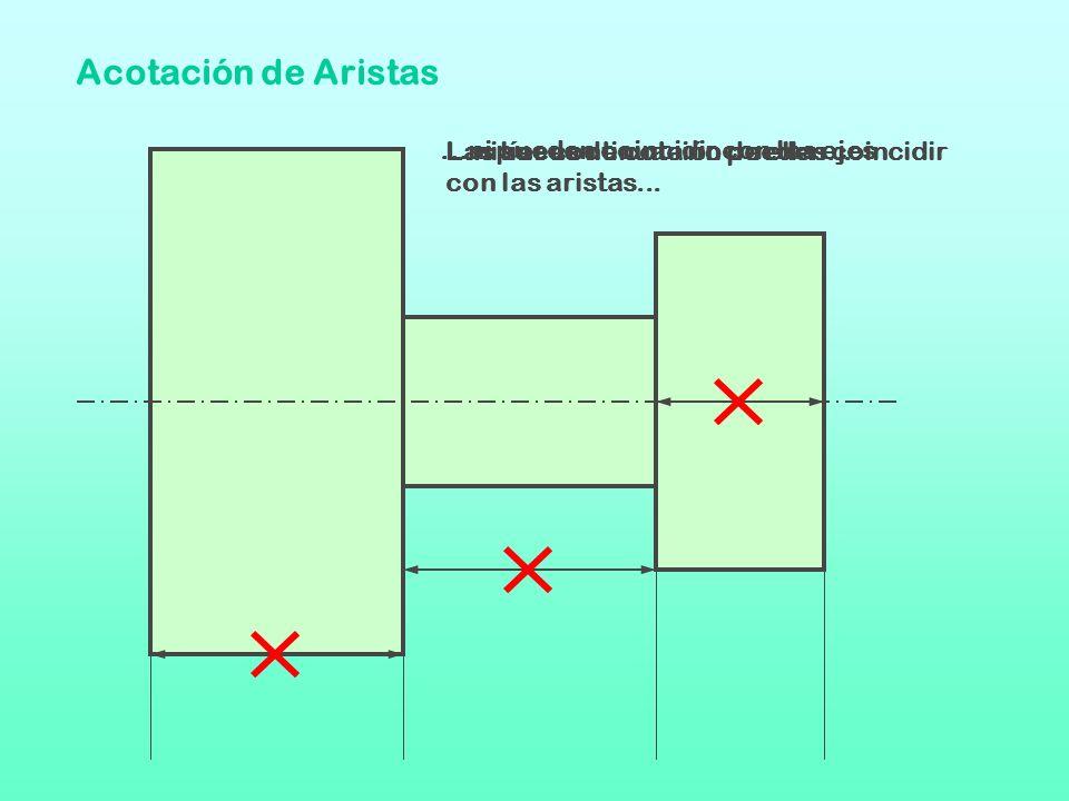 Acotación de Aristas Las líneas de cota no pueden coincidir con las aristas......ni ser continuación de ellas......ni pueden coincidir con los ejes