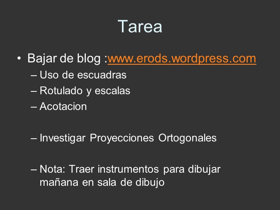 Tarea Bajar de blog :www.erods.wordpress.comwww.erods.wordpress.com –Uso de escuadras –Rotulado y escalas –Acotacion –Investigar Proyecciones Ortogona