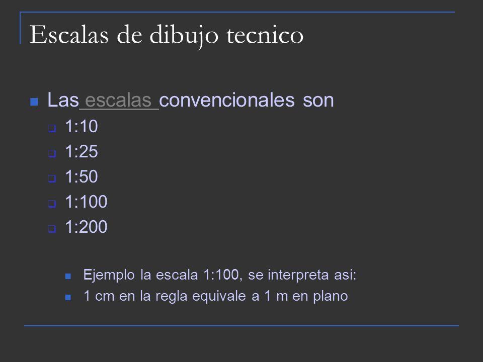 Escalas de dibujo tecnico Las escalas convencionales son escalas 1:10 1:25 1:50 1:100 1:200 Ejemplo la escala 1:100, se interpreta asi: 1 cm en la reg