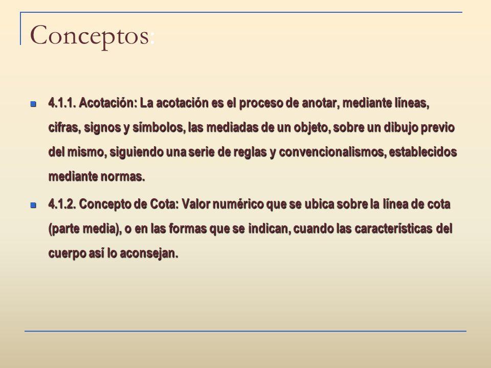 Conceptos: 4.1.1. Acotación: La acotación es el proceso de anotar, mediante líneas, cifras, signos y símbolos, las mediadas de un objeto, sobre un dib