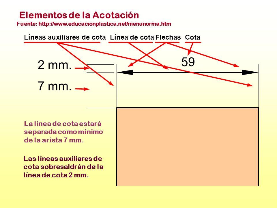 2 mm. 7 mm. 59 Línea de cotaFlechasCotaLíneas auxiliares de cota Elementos de la Acotación Fuente: http://www.educacionplastica.net/menunorma.htm La l