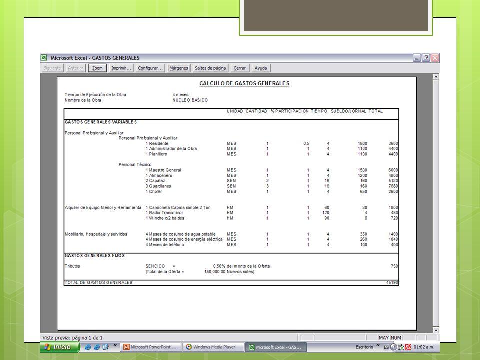 Calculo de Costos Fuerza de trabajo Costos de Fuerza de trabajo Prestaciones Sociales Viaticos Medios de trabajo Uso de equipos Combustible Transporte