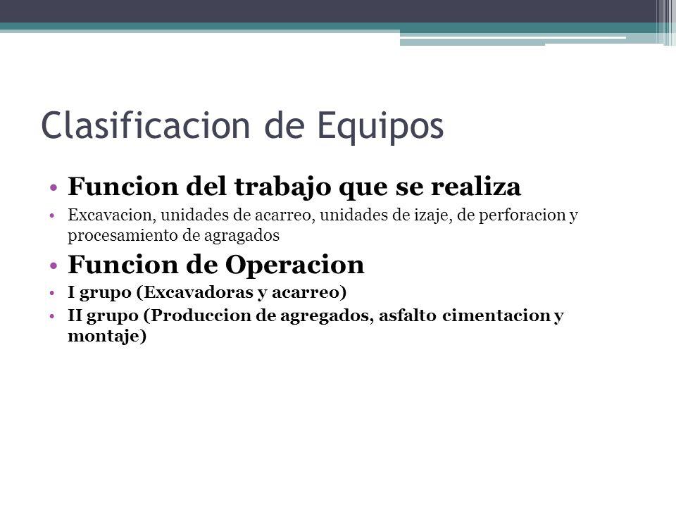 Clasificacion de Equipos Funcion del trabajo que se realiza Excavacion, unidades de acarreo, unidades de izaje, de perforacion y procesamiento de agra