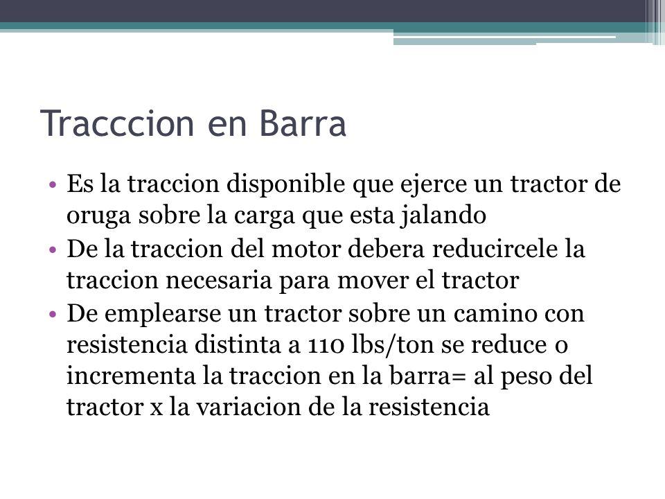 Tracccion en Barra Es la traccion disponible que ejerce un tractor de oruga sobre la carga que esta jalando De la traccion del motor debera reducircel