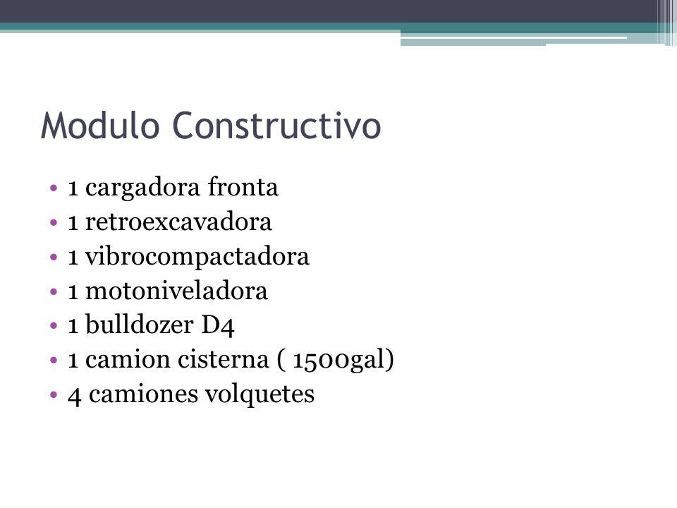 Modulo Constructivo 1 cargadora fronta 1 retroexcavadora 1 vibrocompactadora 1 motoniveladora 1 bulldozer D4 1 camion cisterna ( 1500gal) 4 camiones v