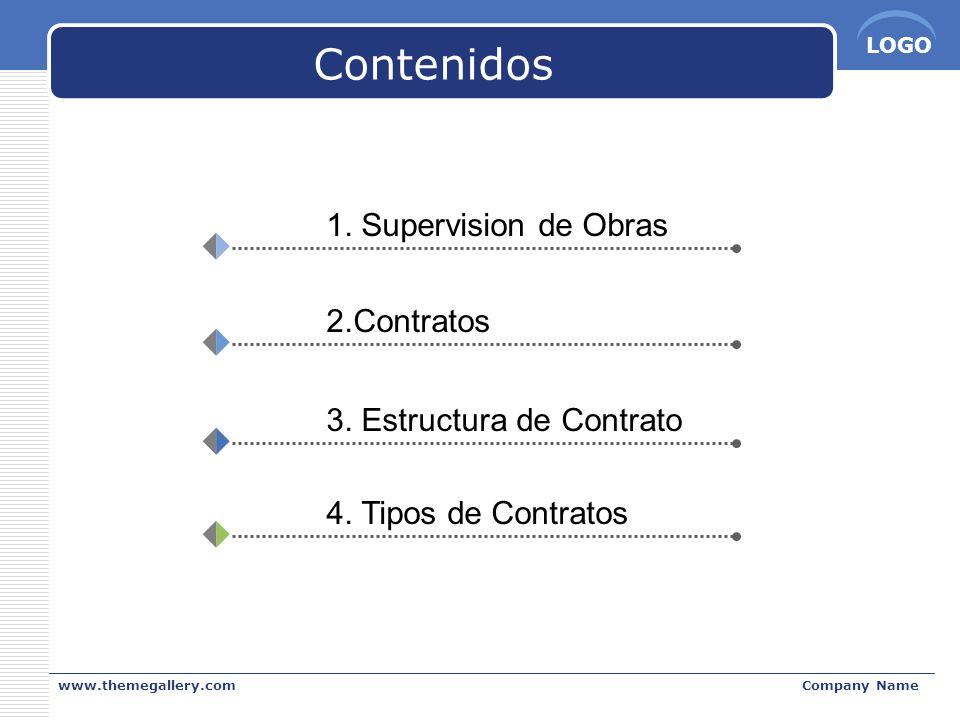 LOGO www.themegallery.comCompany Name Contenidos 1. Supervision de Obras 2.Contratos 3. Estructura de Contrato 4. Tipos de Contratos