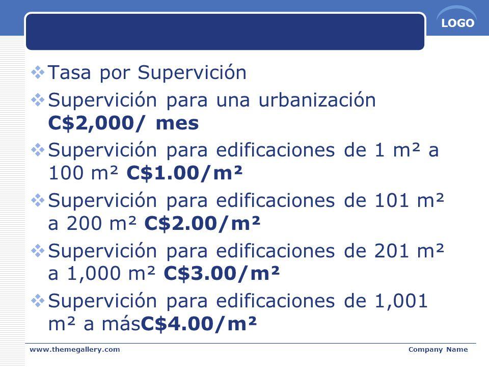 LOGO www.themegallery.comCompany Name Tasa por Supervición Supervición para una urbanización C$2,000/ mes Supervición para edificaciones de 1 m² a 100