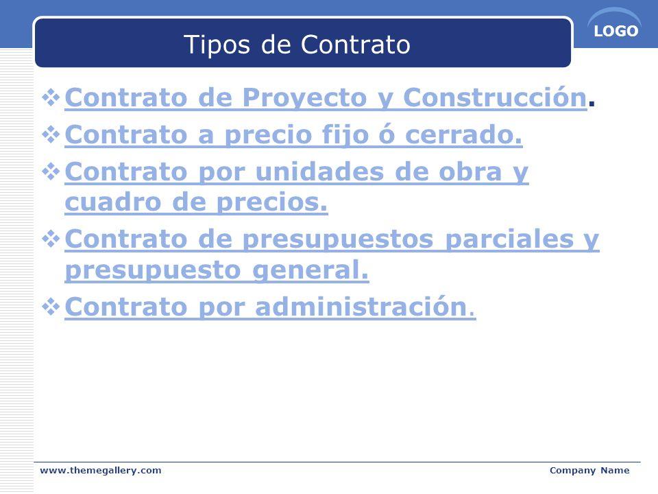 LOGO www.themegallery.comCompany Name Tipos de Contrato Contrato de Proyecto y Construcción. Contrato de Proyecto y Construcción Contrato a precio fij