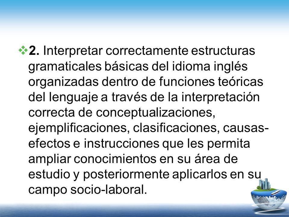 2. Interpretar correctamente estructuras gramaticales básicas del idioma inglés organizadas dentro de funciones teóricas del lenguaje a través de la i