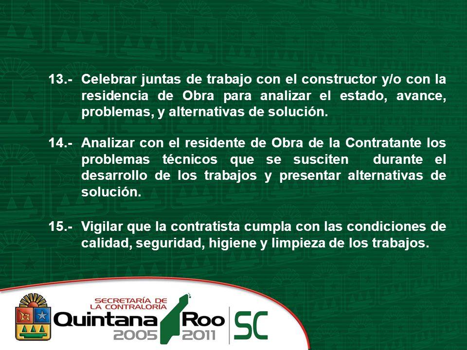 13.-Celebrar juntas de trabajo con el constructor y/o con la residencia de Obra para analizar el estado, avance, problemas, y alternativas de solución