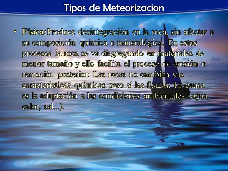 Tipos de Meteorizacion