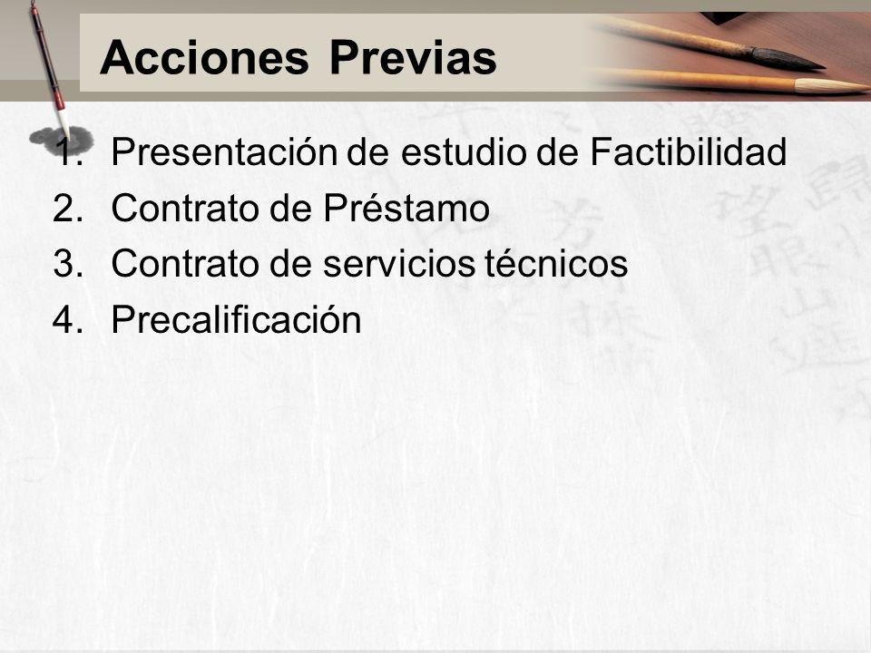 Acciones Previas 1.Presentación de estudio de Factibilidad 2.Contrato de Préstamo 3.Contrato de servicios técnicos 4.Precalificación