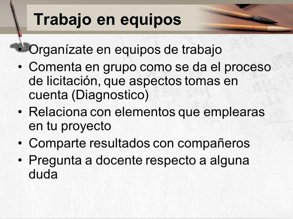 Trabajo en equipos Organízate en equipos de trabajo Comenta en grupo como se da el proceso de licitación, que aspectos tomas en cuenta (Diagnostico) Relaciona con elementos que emplearas en tu proyecto Comparte resultados con compañeros Pregunta a docente respecto a alguna duda