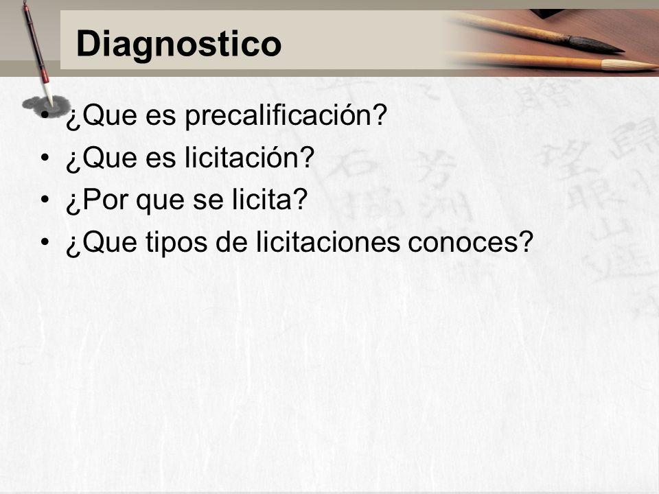 Diagnostico ¿Que es precalificación. ¿Que es licitación.