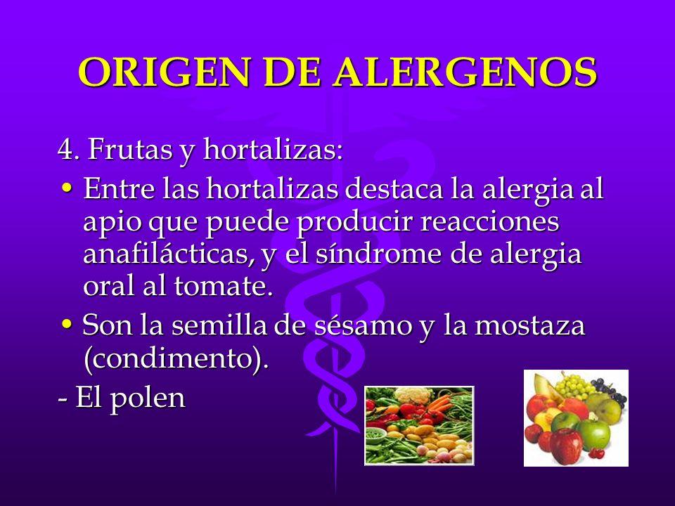 ORIGEN DE ALERGENOS 4. Frutas y hortalizas: Entre las hortalizas destaca la alergia al apio que puede producir reacciones anafilácticas, y el síndrome