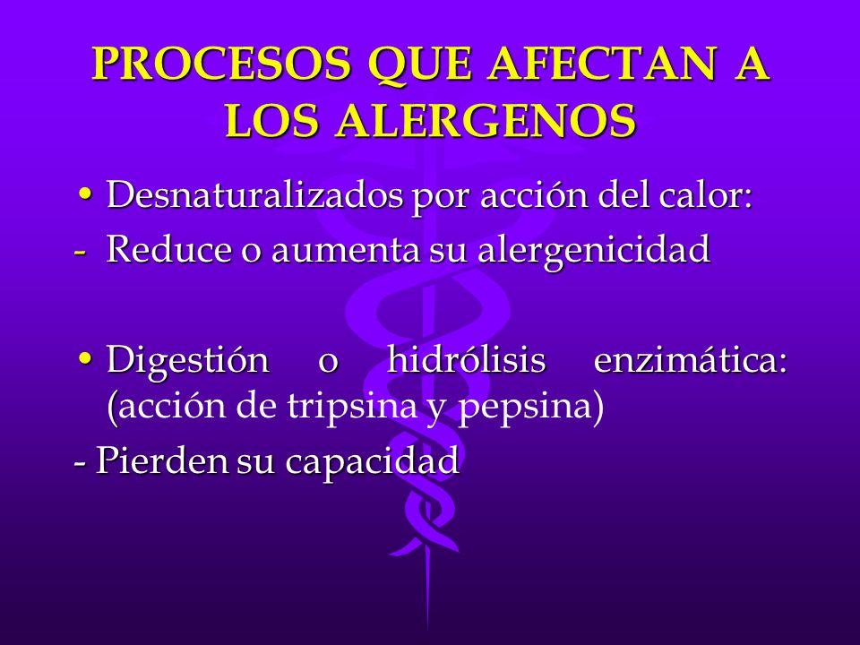 PROCESOS QUE AFECTAN A LOS ALERGENOS Desnaturalizados por acción del calor:Desnaturalizados por acción del calor: -Reduce o aumenta su alergenicidad D