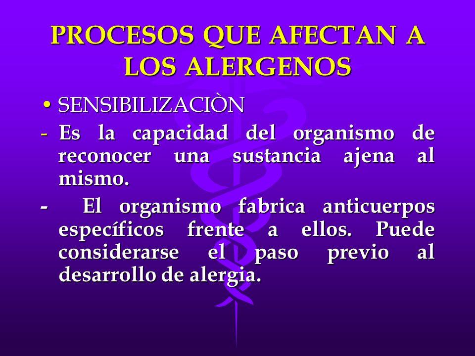PROCESOS QUE AFECTAN A LOS ALERGENOS SENSIBILIZACIÒNSENSIBILIZACIÒN - Es la capacidad del organismo de reconocer una sustancia ajena al mismo. - El or