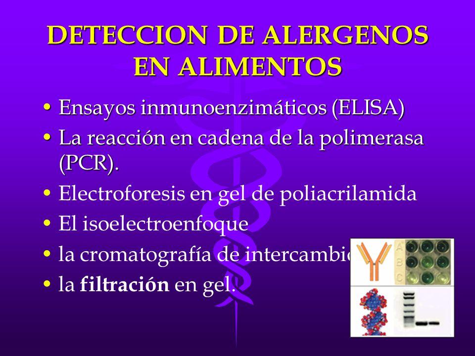 DETECCION DE ALERGENOS EN ALIMENTOS Ensayos inmunoenzimáticos (ELISA)Ensayos inmunoenzimáticos (ELISA) La reacción en cadena de la polimerasa (PCR).La