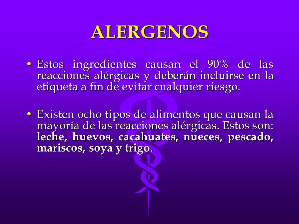 ALERGENOS Estos ingredientes causan el 90% de las reacciones alérgicas y deberán incluirse en la etiqueta a fin de evitar cualquier riesgo.Estos ingre