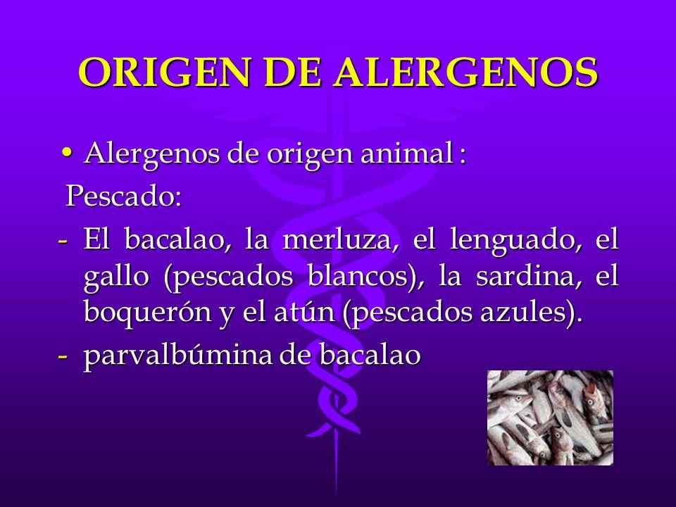 ORIGEN DE ALERGENOS Alergenos de origen animal :Alergenos de origen animal : Pescado: Pescado: -El bacalao, la merluza, el lenguado, el gallo (pescado
