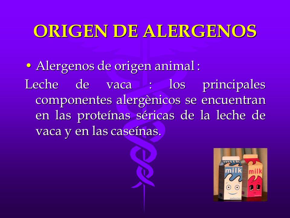 ORIGEN DE ALERGENOS Alergenos de origen animal :Alergenos de origen animal : Leche de vaca : los principales componentes alergènicos se encuentran en