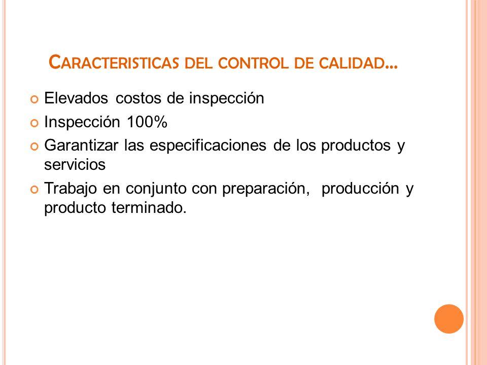 C ARACTERISTICAS DEL CONTROL DE CALIDAD … Elevados costos de inspección Inspección 100% Garantizar las especificaciones de los productos y servicios T
