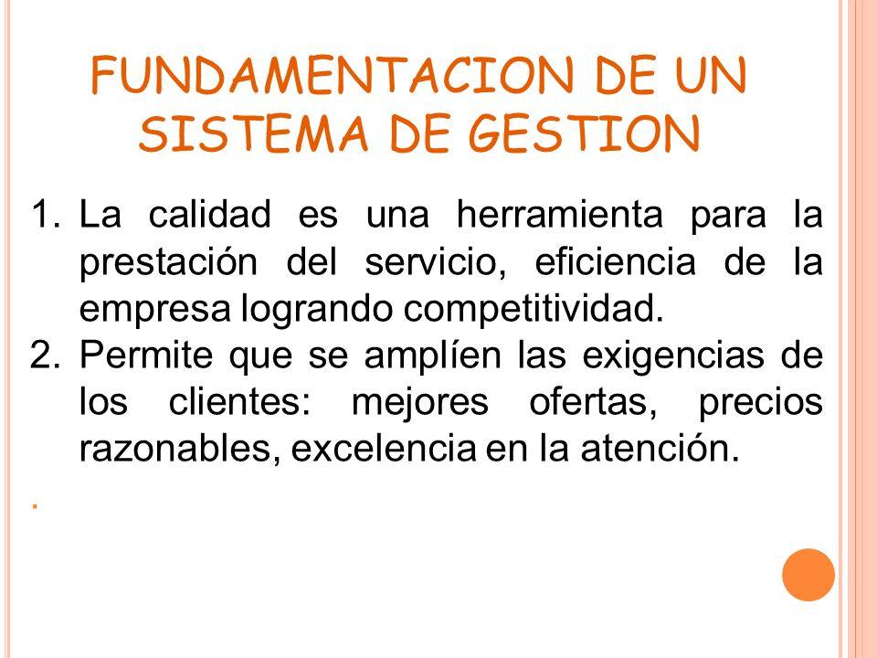 FUNDAMENTACION DE UN SISTEMA DE GESTION 1.La calidad es una herramienta para la prestación del servicio, eficiencia de la empresa logrando competitivi