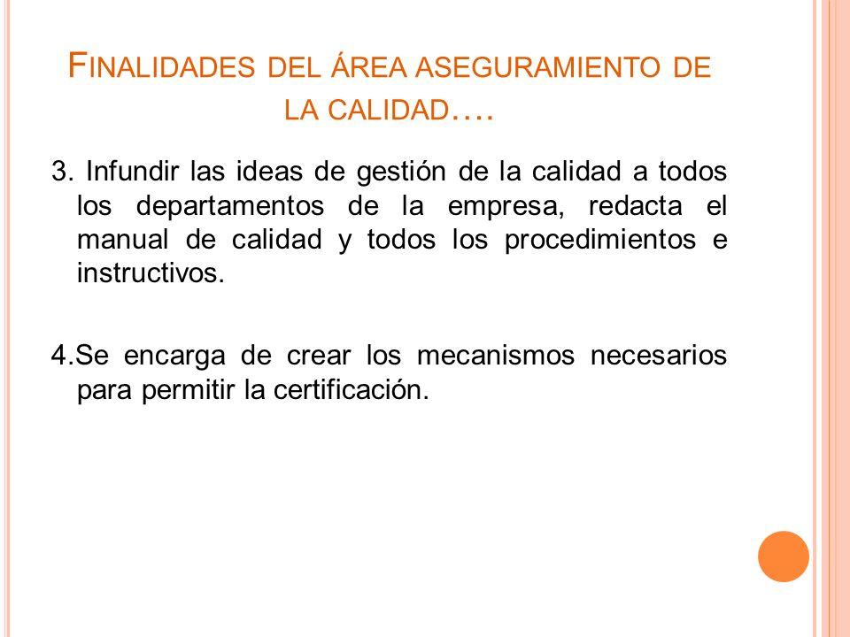 F INALIDADES DEL ÁREA ASEGURAMIENTO DE LA CALIDAD …. 3. Infundir las ideas de gestión de la calidad a todos los departamentos de la empresa, redacta e