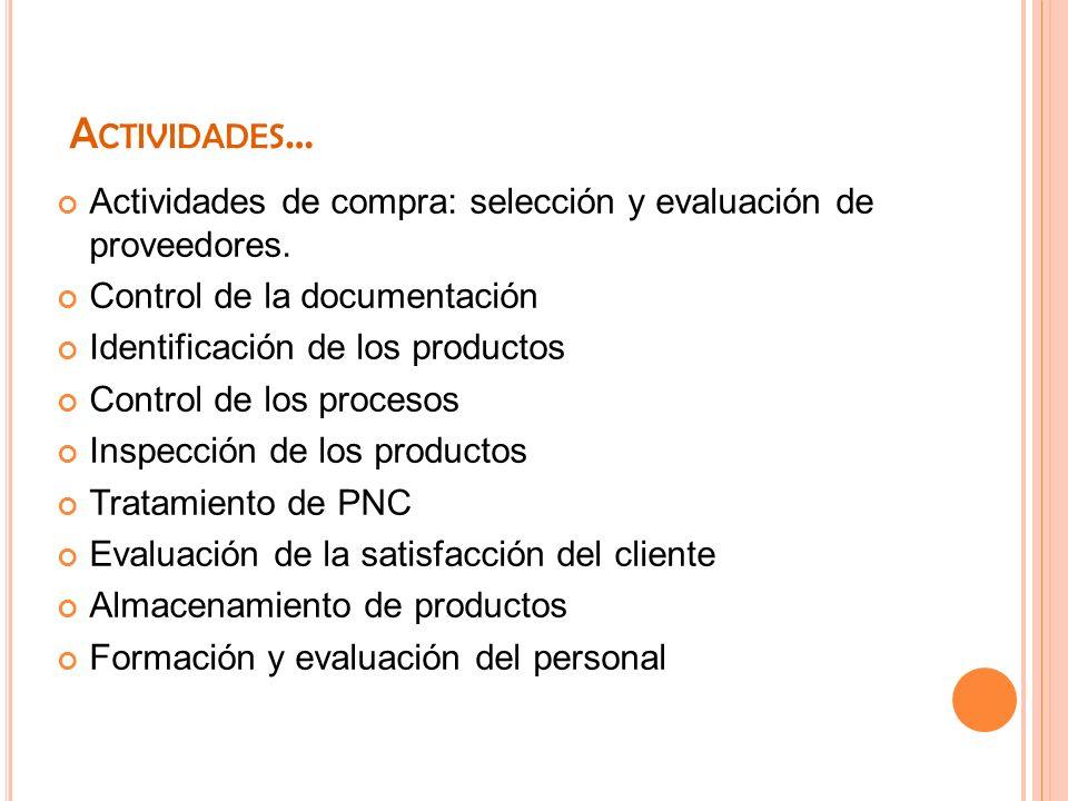 A CTIVIDADES … Actividades de compra: selección y evaluación de proveedores. Control de la documentación Identificación de los productos Control de lo