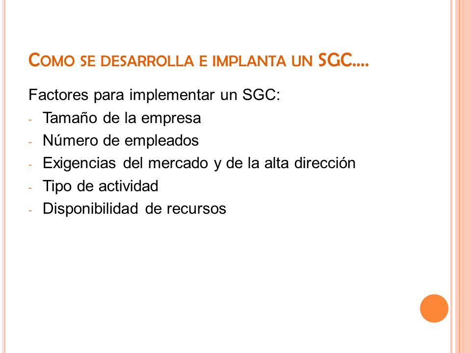 C OMO SE DESARROLLA E IMPLANTA UN SGC…. Factores para implementar un SGC: - Tamaño de la empresa - Número de empleados - Exigencias del mercado y de l