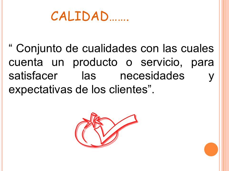 CALIDAD……. Conjunto de cualidades con las cuales cuenta un producto o servicio, para satisfacer las necesidades y expectativas de los clientes.