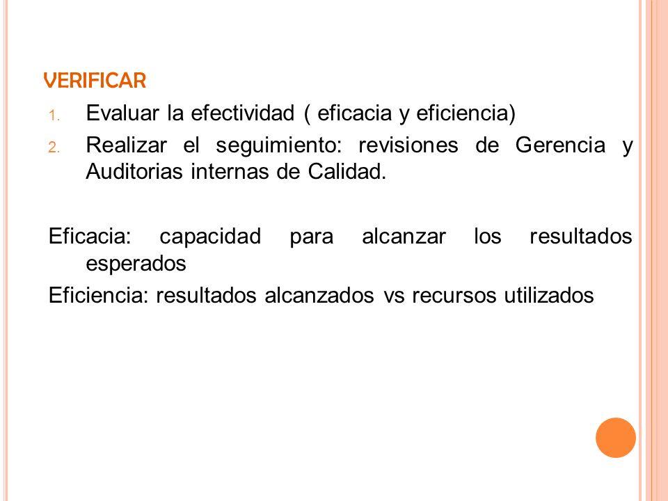 VERIFICAR 1. Evaluar la efectividad ( eficacia y eficiencia) 2. Realizar el seguimiento: revisiones de Gerencia y Auditorias internas de Calidad. Efic