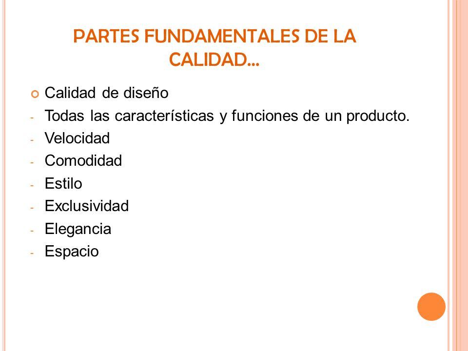 PARTES FUNDAMENTALES DE LA CALIDAD… Calidad de diseño - Todas las características y funciones de un producto. - Velocidad - Comodidad - Estilo - Exclu