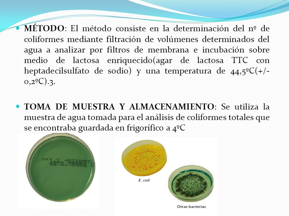 MÉTODO: El método consiste en la determinación del nº de coliformes mediante filtración de volúmenes determinados del agua a analizar por filtros de m