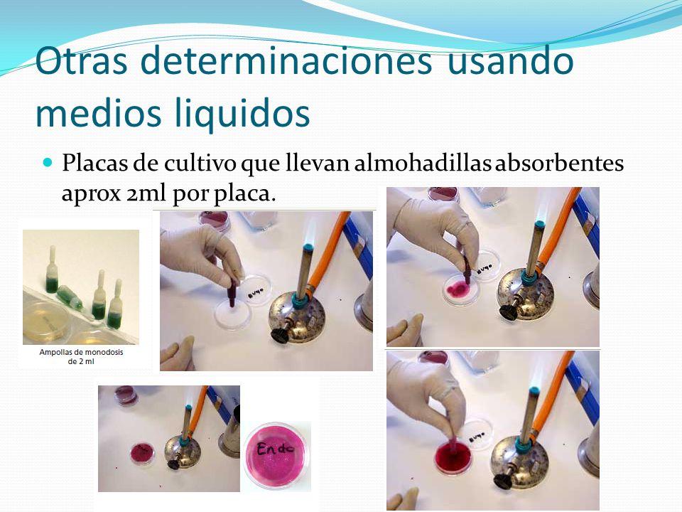 Otras determinaciones usando medios liquidos Placas de cultivo que llevan almohadillas absorbentes aprox 2ml por placa.