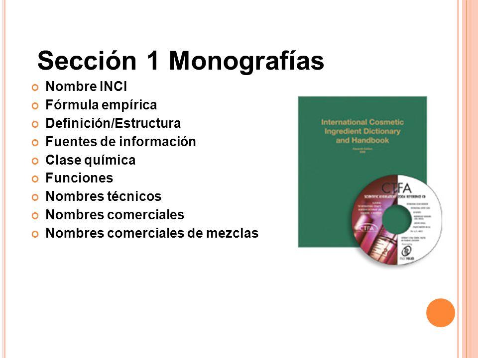 Sección 1 Monografías Nombre INCI Fórmula empírica Definición/Estructura Fuentes de información Clase química Funciones Nombres técnicos Nombres comer