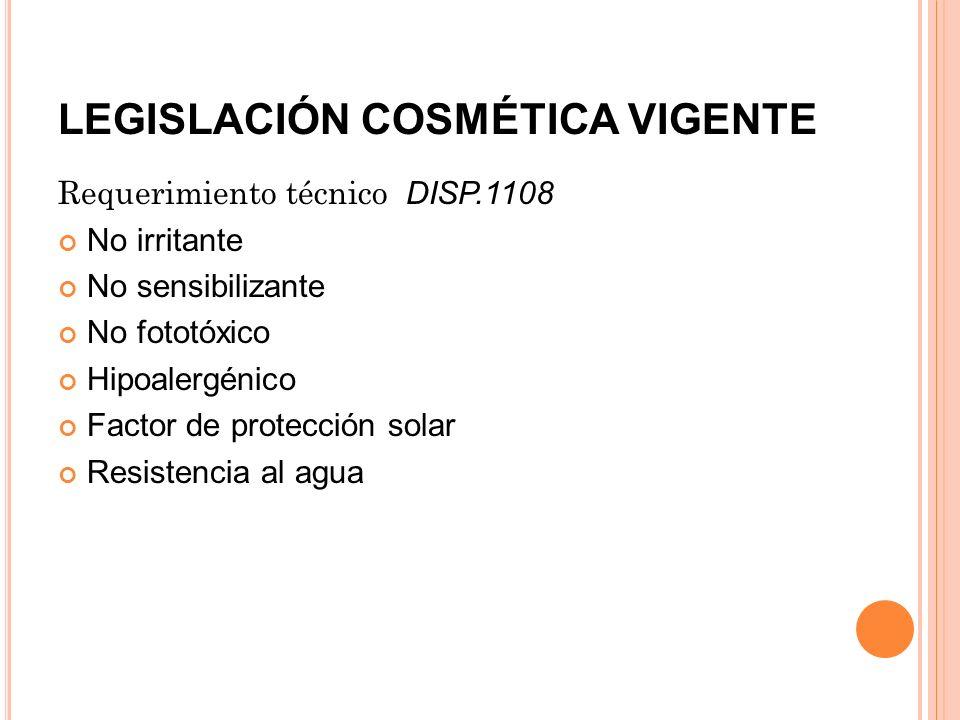 LEGISLACIÓN COSMÉTICA VIGENTE Requerimiento técnico DISP.1108 No irritante No sensibilizante No fototóxico Hipoalergénico Factor de protección solar R