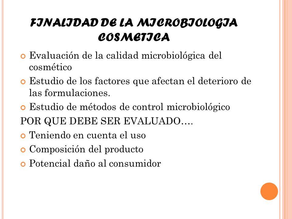 FINALIDAD DE LA MICROBIOLOGIA COSMETICA Evaluación de la calidad microbiológica del cosmético Estudio de los factores que afectan el deterioro de las