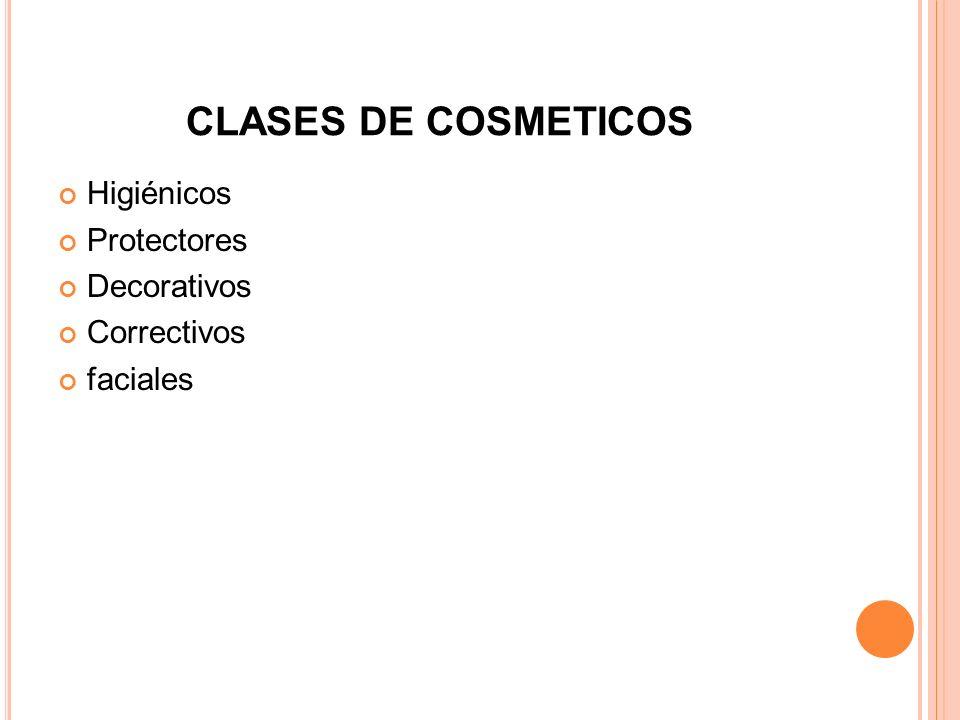 CLASES DE COSMETICOS Higiénicos Protectores Decorativos Correctivos faciales