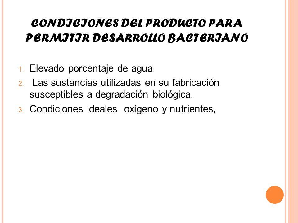 CONDICIONES DEL PRODUCTO PARA PERMITIR DESARROLLO BACTERIANO 1. Elevado porcentaje de agua 2. Las sustancias utilizadas en su fabricación susceptibles