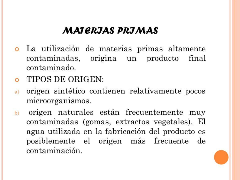 MATERIAS PRIMAS La utilización de materias primas altamente contaminadas, origina un producto final contaminado. TIPOS DE ORIGEN: a) origen sintético