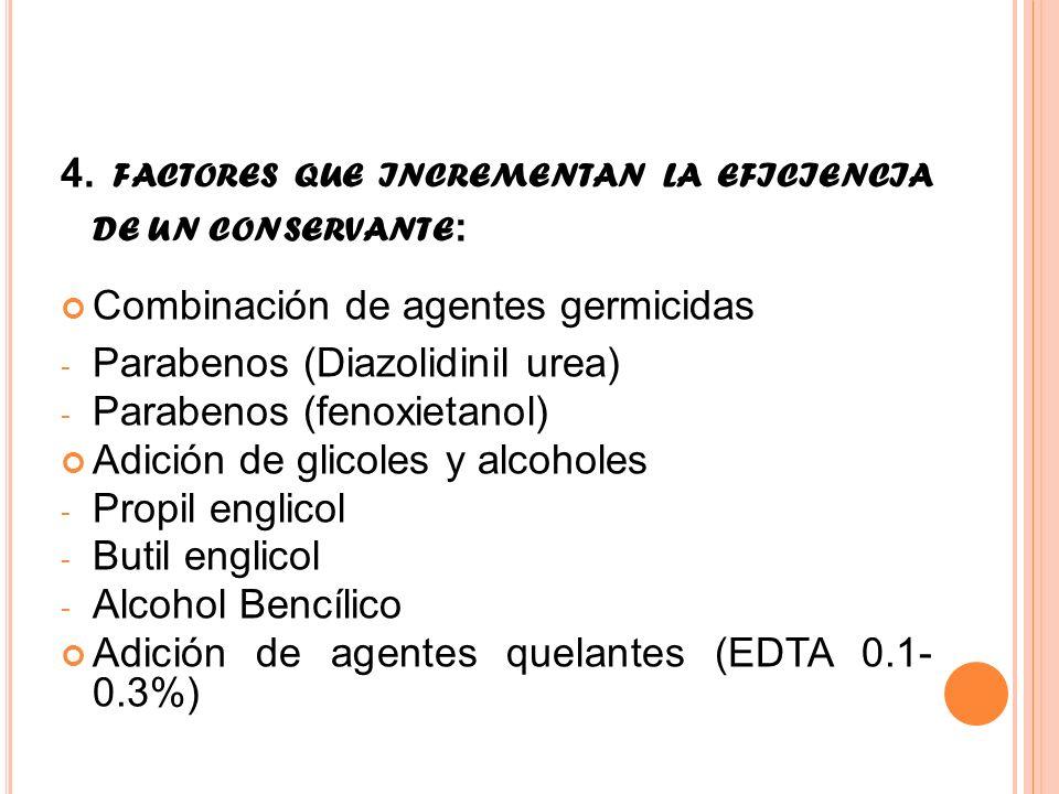 4. FACTORES QUE INCREMENTAN LA EFICIENCIA DE UN CONSERVANTE : Combinación de agentes germicidas - Parabenos (Diazolidinil urea) - Parabenos (fenoxieta
