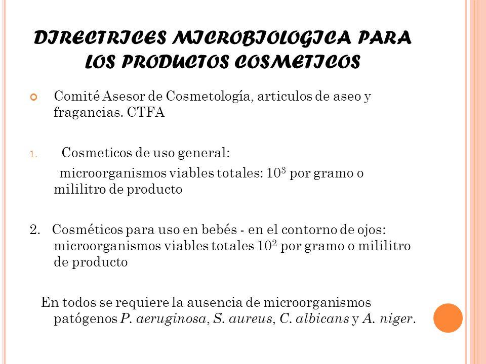 DIRECTRICES MICROBIOLOGICA PARA LOS PRODUCTOS COSMETICOS Comité Asesor de Cosmetología, articulos de aseo y fragancias. CTFA 1. Cosmeticos de uso gene