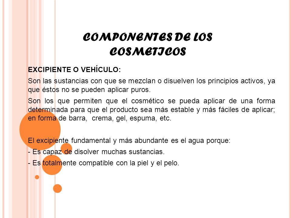 COMPONENTES DE LOS COSMETICOS EXCIPIENTE O VEHÍCULO: Son las sustancias con que se mezclan o disuelven los principios activos, ya que éstos no se pued
