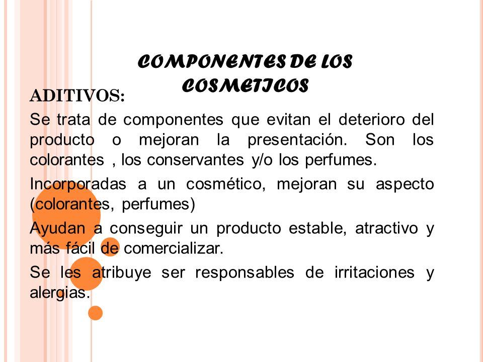COMPONENTES DE LOS COSMETICOS ADITIVOS: Se trata de componentes que evitan el deterioro del producto o mejoran la presentación. Son los colorantes, lo