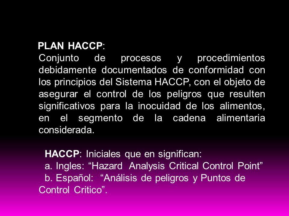 PLAN HACCP: Conjunto de procesos y procedimientos debidamente documentados de conformidad con los principios del Sistema HACCP, con el objeto de asegu