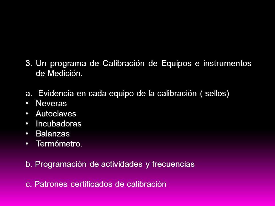 PRE-Requisitos HACCP 3. Un programa de Calibración de Equipos e instrumentos de Medición. a. Evidencia en cada equipo de la calibración ( sellos) Neve